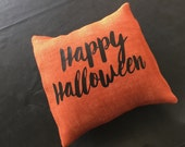 Happy Halloween Burlap Envelope Pillow Cover/ Holiday Pillow Cover/ Halloween Pillow Cover/ Burlap Pillow Cover