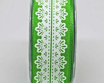 White Lace Center Design Ribbon -- 1.5 Inch -- Spring Green