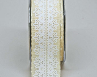 White Lace Center Design Ribbon -- 1.5 Inch -- Ivory