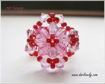 Beaded Ring Pattern - Pink 3-D Flower Ring (RG093) - Beading Jewelry PDF Tutorial (Digital Download)