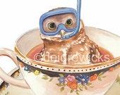 Owl Watercolor Painting - Art PRINT, Teacup, Dive Mask, Nursery Art, Scuba Diving, Funny Watercolour, Kitchen Art