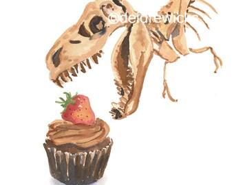 Dinosaur Watercolor PRINT - Cupcake Watercolour, Dino Painting, T Rex Art, 8x10 Print