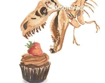 Dinosaur Watercolor PRINT - Cupcake Watercolor, 11x14 Print, Kitchen Art, Food Painting