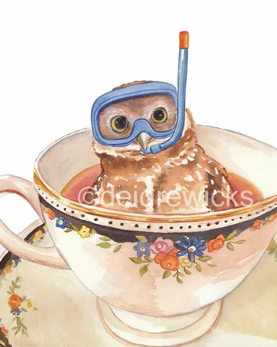 Owl Watercolor PRINT Art, Teacup, Dive Mask, Nursery Art, Open Edition, Scuba Diving, 8x10