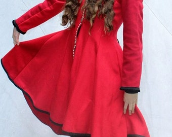 Red Riding Hood Jacket/Wool Goddess Jacket/Red Wool/Celtic Knotwork buttons/Bamboo lining/Gothic/Fairy/Boho/Gypsy/