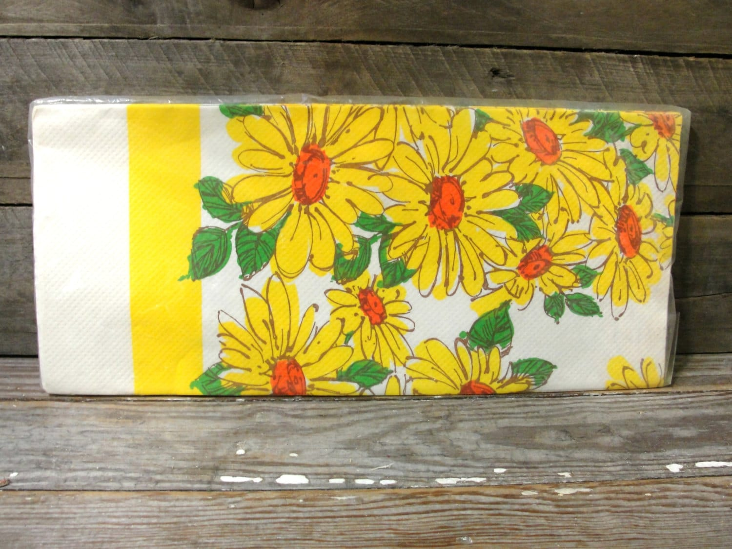 Retro Paper Tablecloth Vintage Yellow Flowers Table Cloth Paper