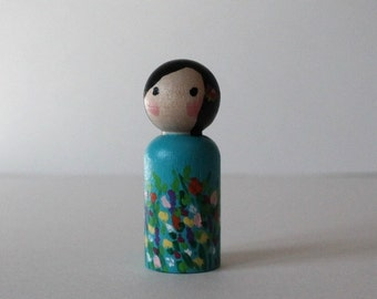 Peg Doll - Spring Doll - Mini Kokeshi Doll - Wooden Doll Waldorf Handpainted - Wildflower Meadow