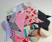 Cotton Fabric Scraps - Fabric scrap remnants - florals, geometrics, dots, solid colors - Use for Scrap Booking, Doll clothes, Hair bows