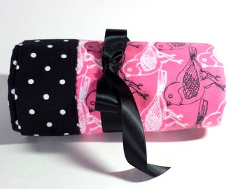 Handmade Flannel Baby Blanket - Hot Pink with Black and White Birds - Reversible Baby Blanket, Baby Shower Gift, Receiving Blanket