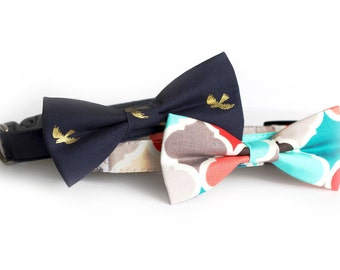 New Color! Gold Bird and Candy, Designer dog collars, Bow Tie Dog and Cat Collar Bow Tie Dog Wedding- Dog Collar, Wedding Dog Collar