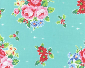 Lecien Flower Sugar Holiday 2016 fabric collection - Aqua floral and holly