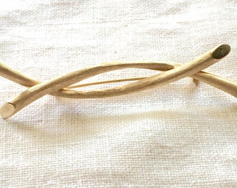 Brooch Judy Lee Designer Signed hallmarked Natural Nature Branch Twig Brooch Pin Vintage Goldtone 1960s crossed paths intertwined lives