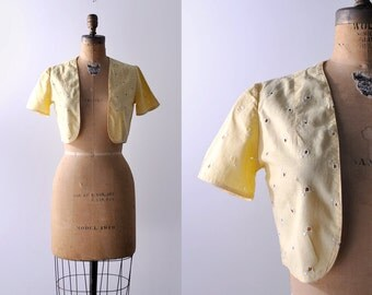30's bolero. yellow. 1930 eyelet top. pastel. white embroidered. 30 cropped jacket. small.