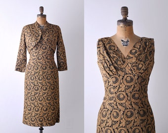 1950's wiggle dress. lace. 50's black & gold dress. cropped jacket. pinup bombshell dress. m.