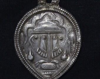 Antique Indian Amulet, Vishnu's Sacred Footprint Pendant, High Grade Silver, Ethnic Tribal, Rajasthan, India, 13.7 Grams