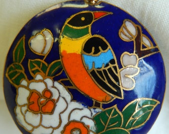 Cloisonne bird and flower chain pin