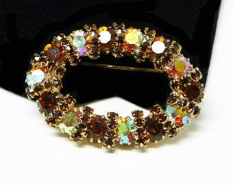 Vintage Oval Brooch - Brown & Yellow Aurora Borealis Rhinestones - 1960's - 1970's Pin - Vintage Rhinestone Jewelry