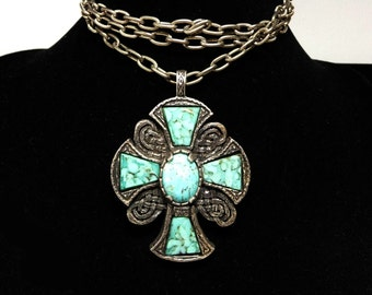 Turquoise Maltese Cross Pendant with Silver Chain Necklace - Faux Turquoise Gemstons In Silvertone Setting Made in Italy