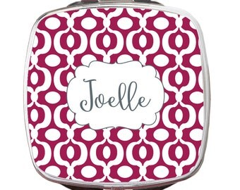 Personalized Compact Mirror, Urban Print Personalized Monogrammed Compact Mirror, Custom Compact Mirror, Bridal Gift