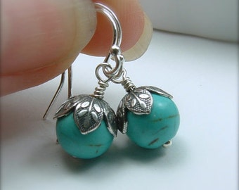 Turquoise Jewelry, Turquoise Earrings, Light Blue Earrings, Turquoise Stone Earrings, Girlfriend Gift, Bridesmaids Gift, Gift For Her
