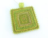 Hand embroidered & beaded square pendant necklace, textile art jewellery, apple lime green silver, fibre art jewelry, unique pendant