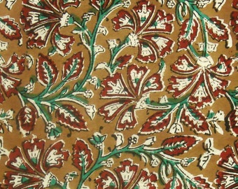 Block Printed Cotton Fabric - Red and Green Floral Pattern on Ochre Kalamkari Print 1 Yard - ctjp186