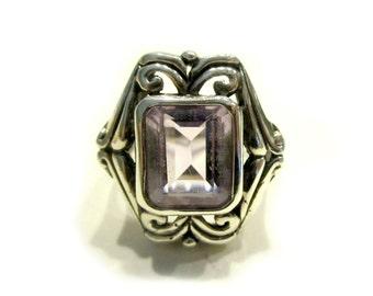 Emerald Cut Amethyst Sterling Ring 925 Silver February Birthstone Heavy Sterling Silver Size 7.25