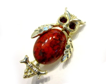 Vintage Owl Brooch Red Marbled Belly Rhinestone Eyes Owl Pin Small Gold Owl Gift for Her Gift for Mom Under 10