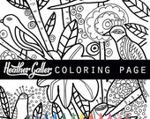 50% Off- Garden coloring, coloring book, adult coloring book, coloring pages, adult coloring pages, coloring book for adults, Birds