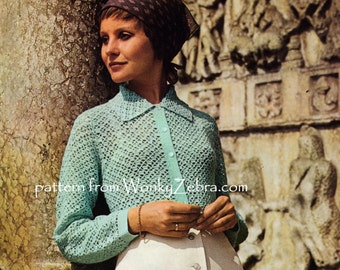 Vintage Crochet lace shirt blouse with collar Pattern PDF 827 from WonkyZebra