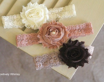 Flower Headband, Newborn Headband Starter Set, Lace Headband, Shabby Headband, RTS, Baby Girl Headband, Ivory Mocha Brown, Set of 3