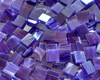 Dark Purple Wispy Stained Glass Mosaic Tiles