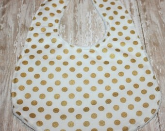 Gold and White Polka Dot Baby Bib, Baby Girl Bib, Baby Boy Bib, Minky Baby Bib, Gold Baby Bib, Personalized Baby Bib