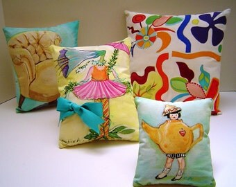 A Cheery Group - Four Small Unique Hand Painted Pillows for Gift Giving Home Decor - Charming Cottage Pillow Decor - Original ART