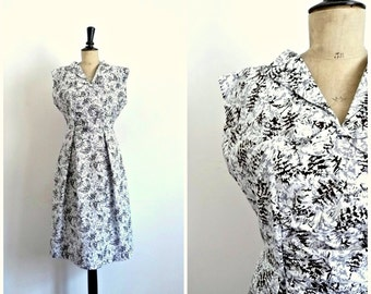 Vintage 50s-60s Midi Summer Cotton Dress Printed Abstract White Black and Grey / Size M