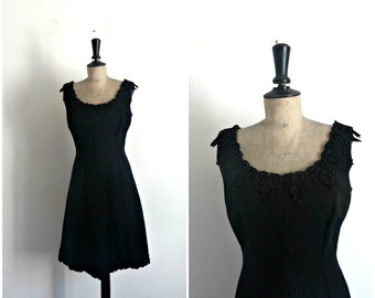 Black Evening Gown Embroidered Pearls Vintage 50s/60s