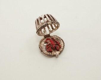 Vintage Sterling/Enamel NUVO Lobster Trap Charm - Opens