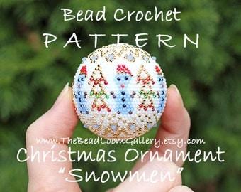 Christmas Ornament Snowmen - Crochet PDF File TUTORIAL - Christmas Ornament Vol.13 with Swarovski Crystals