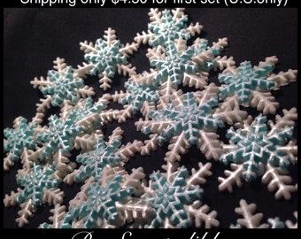 Frozen Theme Blue and White Snowflakes Medium Size Cake Decorations