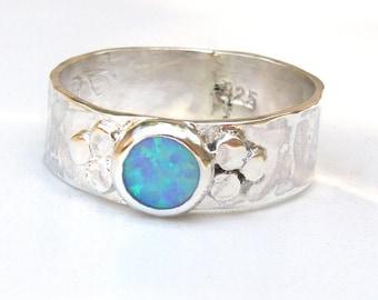 Handmade Engagement Ring, Fine 925 Silver sterling ring ,Blue Opal ring, love ring, birthday gift, girl gift, gift for her, opal ring