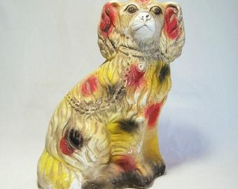 Art Deco 1920s Carnival Staffordshire Spaniel Chalkware Dog 11 In Multi Color 516