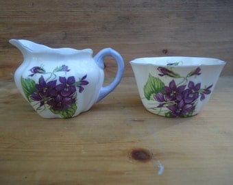 Lovely Vintage Violets Shelley Sugar and Creamer/Open Sugar Bowl with Violets/Collectible Bone China