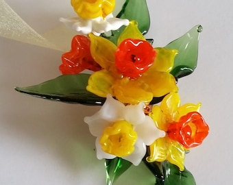 Daffodil Flowers - Sculpted Glass Flowers - Meadow Flowers Spray Glass - Copper Wire