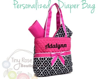 Personalized Diaper Bag, Pink and Black Quatrefoil Monogrammed Baby Tote, Changing Pad, Mommy Bag