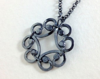 Floral Scrolled Pendant, Oxidized Sterling Silver