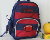 Personalized Toddler (Mini Size) Backpack Pottery Barn -- Navy/Red Rugby Stripe With Football