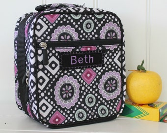 Lunch Bag Personalized -- PBTeen -- black/lavender diamonds