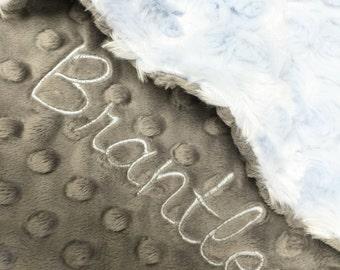 Baby Blanket, Blue Minky Blanket, Gray Baby Blanket, Personalized Blanket, Baby Boy Blanket, Baby Shower Gift, Newborn Gift