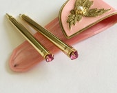 Vintage Pen and Pencil Set Mid Century Womens Accessory Purse Set Pretty in Pink