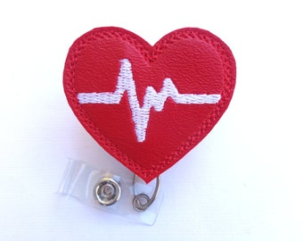 Retractable badge holder - nurse badge holder - Heartbeat EKG red marine vinyl with white - Nurse badge reel  RN doctor medical badge reel